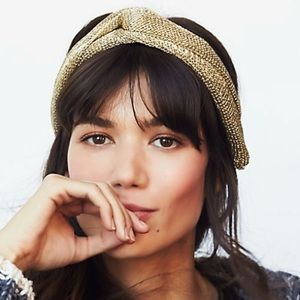 New Free People Gold Metallic Mesh Headband